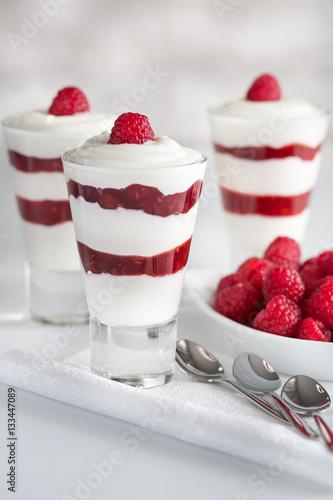 Griechischer Joghurt Mit Himbeermus Im Glas Und Frischen Himbeeren
