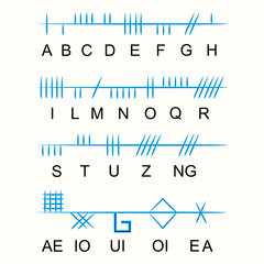 Set of old sacred celtic Ogham alphabet. Ancient occult symbols,