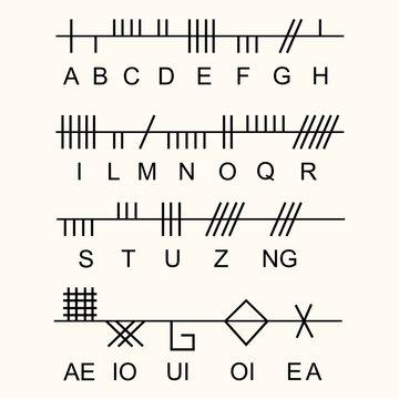 Set of old sacred celtic Ogham alphabet. Ancient occult symbols,