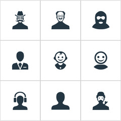 Set Of 9 Simple Human Icons. Can Be Found Such Elements As Male With Headphone, Mysterious Man, Moustache Man And Other.