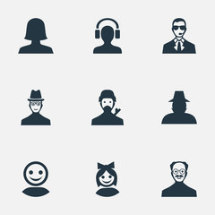 Set Of 9 Simple Human Icons. Can Be Found Such Elements As Spy, Bodyguard, Agent And Other.