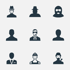 Set Of 9 Simple Avatar Icons. Can Be Found Such Elements As Proletarian, Workman, Bodyguard And Other.