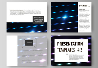 Business templates for presentation slides. Layouts in flat style. Colorful neon dots, dotted technology background. Glowing particles, led light pattern, futuristic texture, digital vector design.