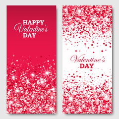 Valentines Day vertical Flyers with scattered circles on red and white background. Vector illustration for different projects.