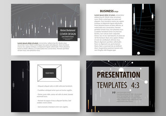 Business templates for presentation slides. Vector layouts. Abstract infographic background in minimalist design made from lines, symbols, charts, diagrams and other elements.