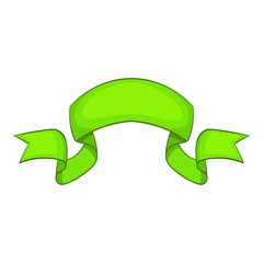 Green ribbon icon, cartoon style