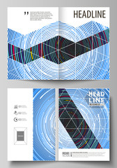 Business templates for bi fold brochure, magazine, flyer, booklet, report. Cover design, abstract vector layout in A4 size. Blue color background in minimalist style made from colorful circles