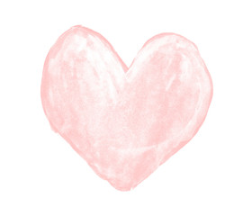 Pale pink heart painted with gouache