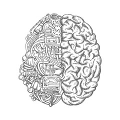 Human brain mechanism engine gears vector sketch