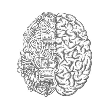 Human brain mechanism engine gears vector sketch