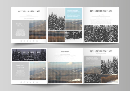 Business templates for tri fold square design brochures. Leaflet cover, flat layout, easy editable vector. Abstract landscape of nature. Dark color pattern in vintage style, mosaic texture.