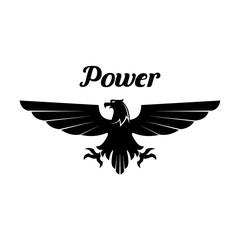 Heraldic black eagle or vulture vector icon
