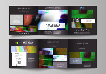 Business templates for tri fold square design brochures. Leaflet cover, abstract vector layout. Glitched background made of colorful pixel mosaic. Digital decay, signal error, television fail.