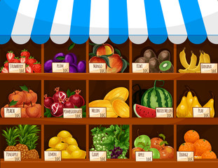 Fruit market vector showcase stand with fruits