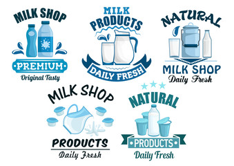 Milk and dairy products vector isolated icons