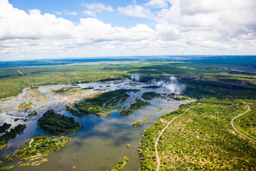 Wall Mural - Aerial view of the Zambezi river right before Victoria Falls