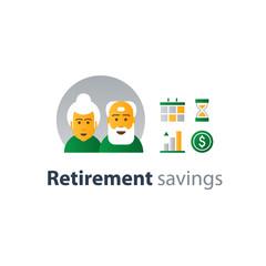 Retiremet, pension finance, insurance idea, savings account, time is money