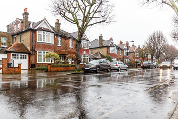 London suburb of Chiswick in winter rain
