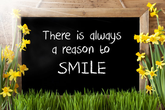 Sunny Spring Narcissus, Chalkboard, Quote Alwyas Reason To Smile