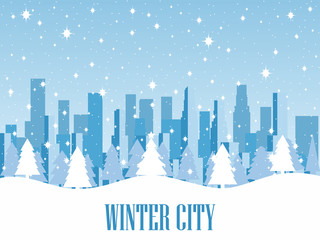 Winter city. Snow-covered metropolis with skyscrapers. Vector illustration.