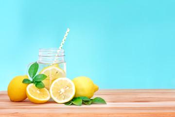 Citrus lemonade water with lemon sliced , healthy and detox