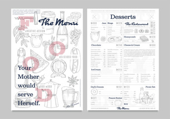 Restaurant or cafe menu vintage design template