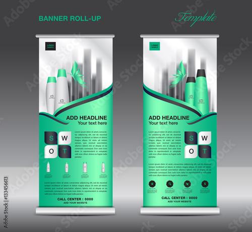 Green Roll Up Banner Template Vector Flyer Advertisement