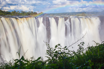 Wall Mural - Victoria Falls, a frontal view with a rainbow through the mist and spray.