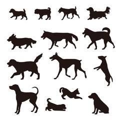いろいろな犬のシルエット