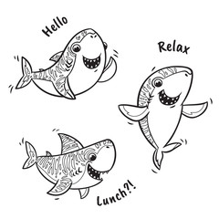 Outline set with shark in cartoon style