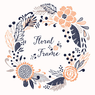 Floral vector round frame