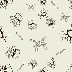 Seamless texture of sketches of skulls and pistols