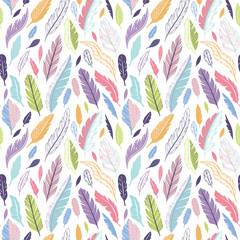 Wall Mural - Vector seamless pattern with feathers
