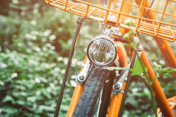 Vintage Bicycle with Summer grass field