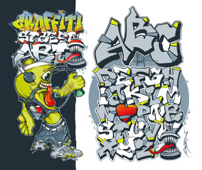 Editable graffiti font. Aerosol graffiti paint spray. Street art concept. Graffiti spray paint. Vector Illustration. Graffiti style