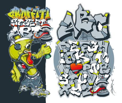 Editable graffiti font. Aerosol graffiti paint spray. Street art concept. Graffiti spray paint. Vector Illustration. Graffiti style