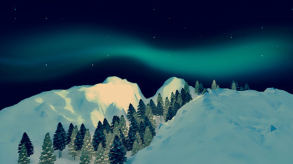 3d rendering picture of winter landscape and aurora borealis. Beautiful and spectacular Northern lights in the sky.
