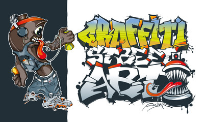 Aerosol graffiti paint spray. Street art concept. Vector Illustration. Graffiti style