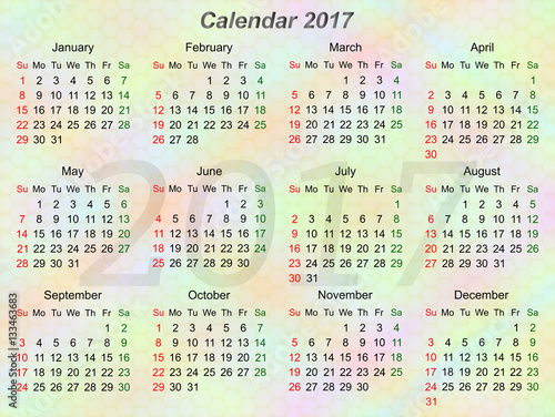 Quot Colorful Horizontal Calendar For Year 2107 Sunday First