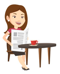 Woman reading newspaper and drinking coffee.
