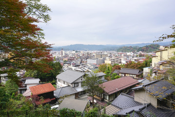 landscape of Takayama town from the top