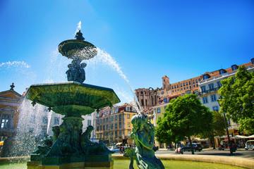 "Fontaine de la place ""Dom Pedro IV"", rossio square, Lisbonne, Portugal"