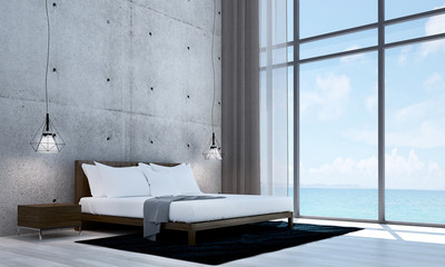 The interior design of modern bed room and sea view