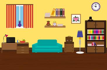 Interior modern and stylish room with a sofa,  wardrobe,  desk