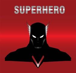 superhero. winged head superhero in black suit.