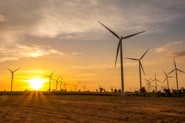 Huay Bong Wind Farm Thailand on sunset