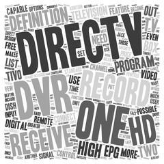 Direct TV and the HD DVR text background wordcloud concept