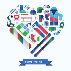 Winter lifestyle background card with different snow activities elements stylized in heart. Winter sports collection with snowboarding and skiing equipment in flat design. Snow games icons vector set.
