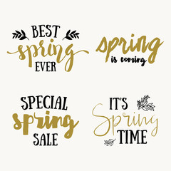 It's spring time lettering greeting cards set. Special spring sale typography poster in gold black and white colors. Vector illustration.