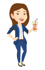 Woman drinking cocktail vector illustration.